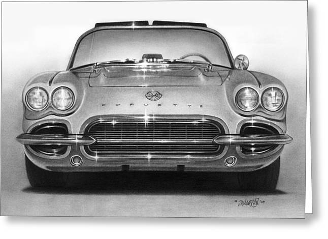 Graphite Drawing Greeting Cards - 62 Corvette Greeting Card by Tim Dangaran