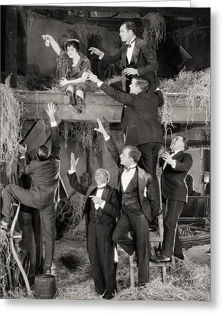 Hayloft Greeting Cards - Silent Film Still Greeting Card by Granger