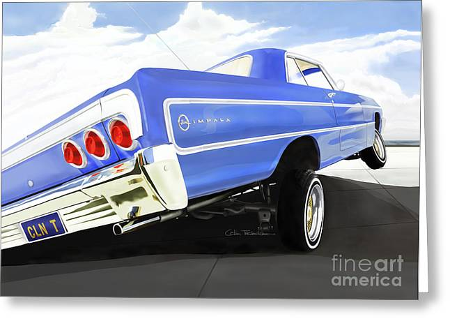 Lowrider Greeting Cards - 64 Impala Lowrider Greeting Card by Colin Tresadern