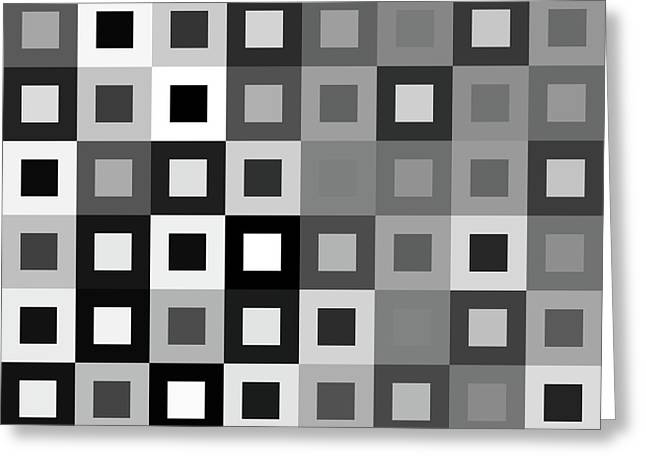 Algorithmic Abstract Greeting Cards - 64 Shades of Grey - 1 - Has Small White Greeting Card by Ron Brown