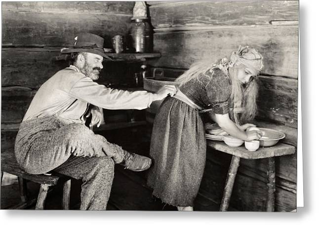 Cabin Interiors Photographs Greeting Cards - Silent Film Still Greeting Card by Granger