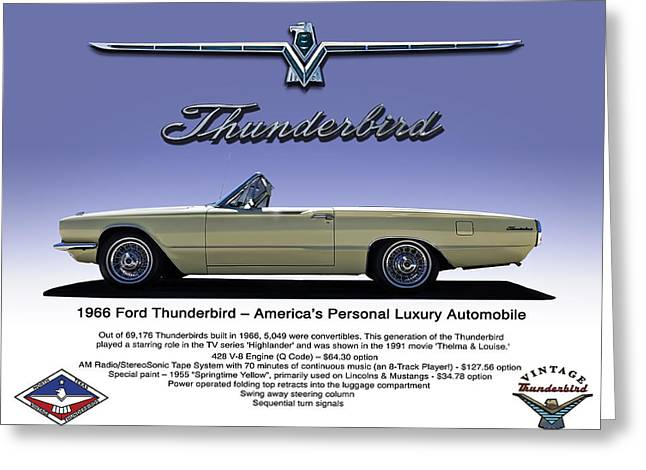 Thunderbird Greeting Cards - 66 Thunderbird Convertible Greeting Card by Douglas Pittman