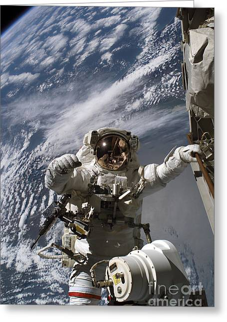 Best Sellers -  - Replacing Greeting Cards - Astronaut Participates Greeting Card by Stocktrek Images