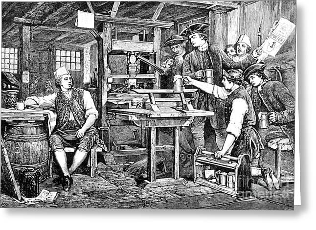 Franklin Press Greeting Cards - Benjamin Franklin (1706-1790) Greeting Card by Granger