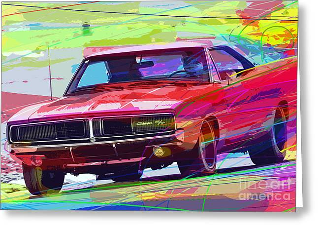 Auto Racing Greeting Cards - 69 Dodge Charger  Greeting Card by David Lloyd Glover
