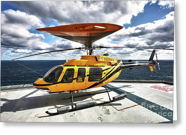 Rotorcraft Greeting Cards - A Bell 407 Utility Helicopter Greeting Card by Terry Moore