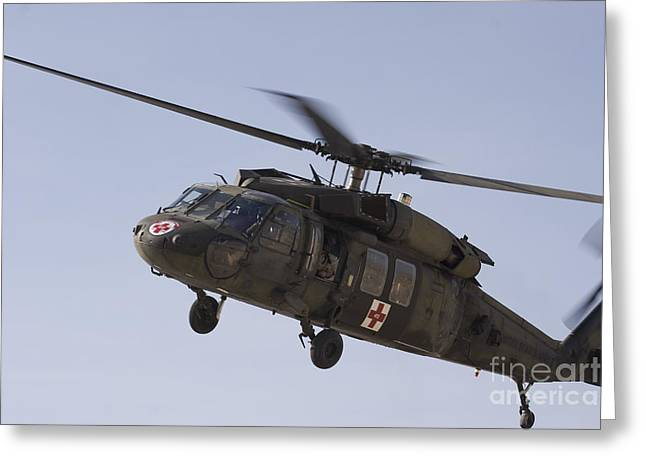 Utility Aircraft Greeting Cards - A Uh-60 Blackhawk Medivac Helicopter Greeting Card by Terry Moore