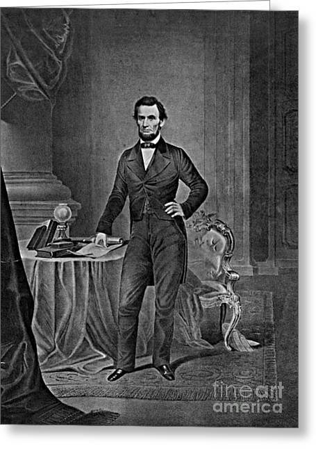 Thirteenth Amendment Greeting Cards - Abraham Lincoln, 16th American President Greeting Card by Photo Researchers