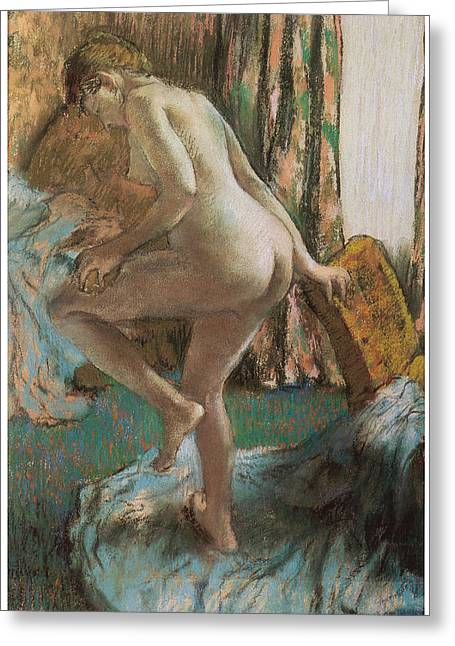 Bath Pastels Greeting Cards - After the Bath Greeting Card by Edgar Degas