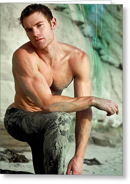 Male Model Greeting Cards - Allen Greeting Card by Invicta