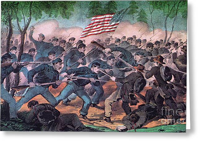 Federal Troops Greeting Cards - American Civil War, Battle Greeting Card by Photo Researchers