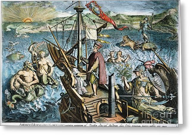 Joannes Greeting Cards - Amerigo Vespucci (1454-1512) Greeting Card by Granger
