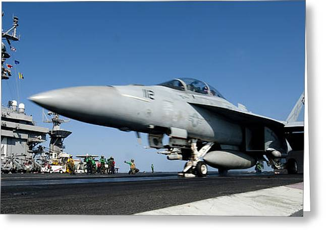 Fighters Greeting Cards - An Fa-18f Super Hornet Launches Greeting Card by Stocktrek Images