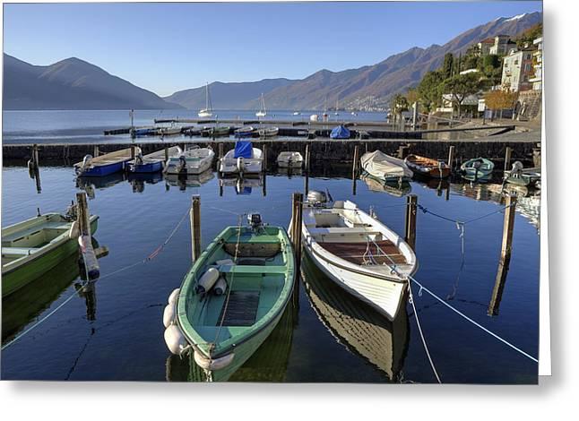 Motor Boats Greeting Cards - Ascona - Lake Maggiore Greeting Card by Joana Kruse