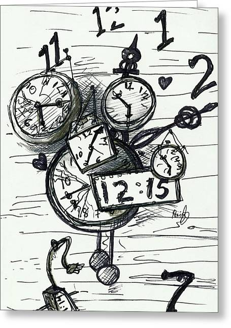 Broken Clocks Greeting Card by Rene Capone