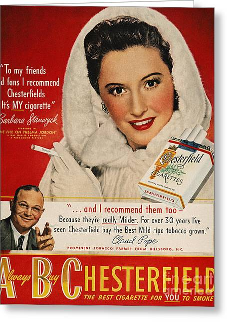 Endorsement Greeting Cards - Chesterfield Cigarette Ad Greeting Card by Granger