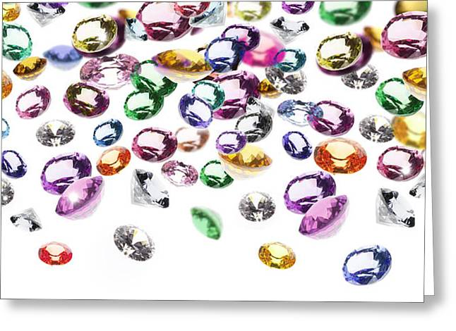 Gift Jewelry Greeting Cards - Colorful Gems Greeting Card by Setsiri Silapasuwanchai