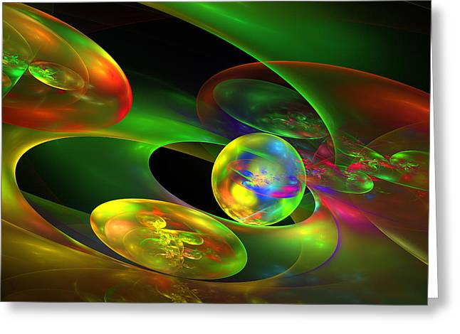 Vibrant Green Greeting Cards - Computer Generated Planet Sphere Abstract Fractal Flame Modern Art Greeting Card by Keith Webber Jr