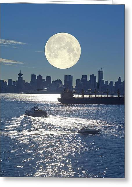 Sea Moon Full Moon Greeting Cards - Full Moon Over Vancouver Greeting Card by David Nunuk