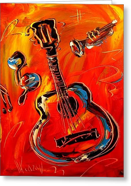 Fine Art Prints Framed Prints Greeting Cards - Guitar Greeting Card by Mark Kazav