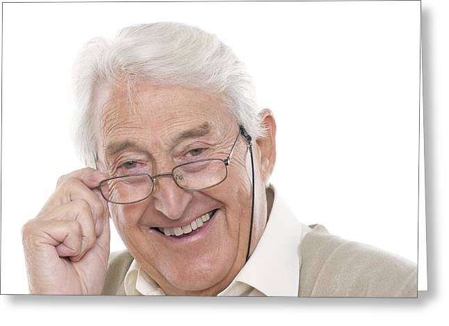 Gray Hair Greeting Cards - Happy Senior Man Greeting Card by