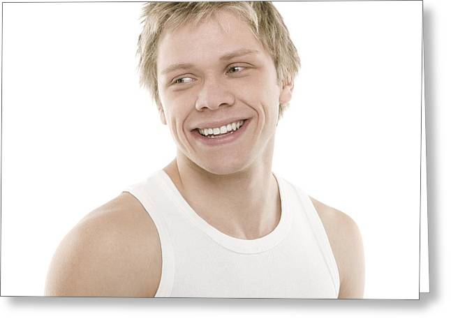 Tank Top Greeting Cards - Healthy Man Greeting Card by