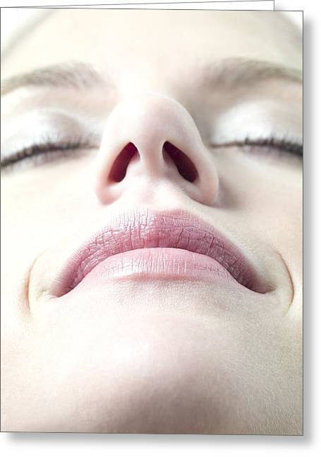 Chin Up Photographs Greeting Cards - Healthy Womans Face Greeting Card by
