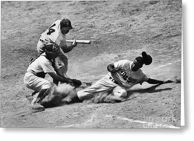 Runner Greeting Cards - Jackie Robinson (1919-1972) Greeting Card by Granger