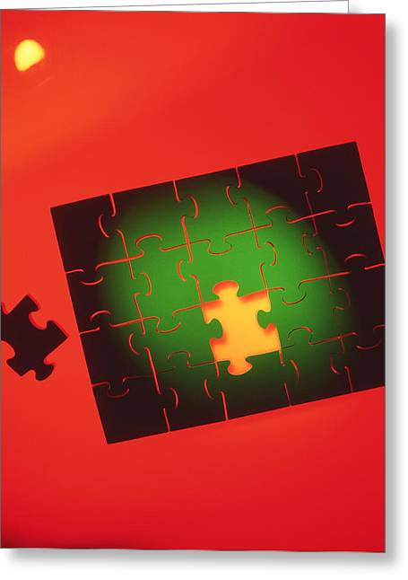 Completion Greeting Cards - Jigsaw Puzzle Greeting Card by Tek Image
