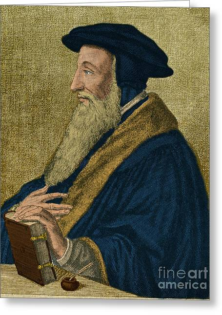 Important Greeting Cards - John Calvin, French Theologian Greeting Card by Photo Researchers