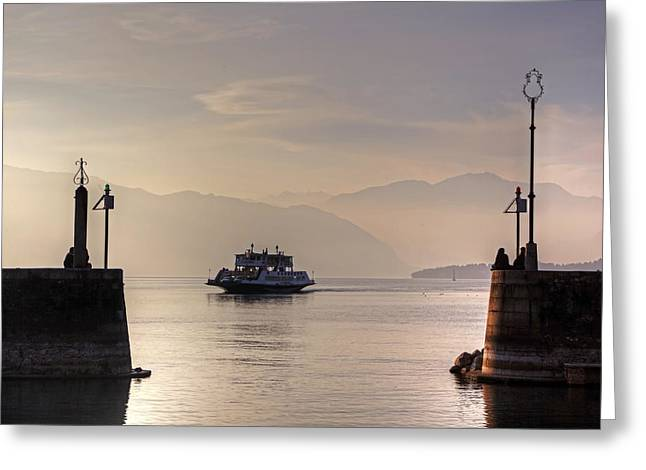 Boats In Harbor Greeting Cards - Lake Maggiore Greeting Card by Joana Kruse