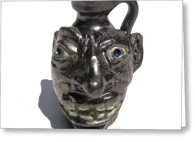 Miniature Face Jug Greeting Card by Stephen Hawks