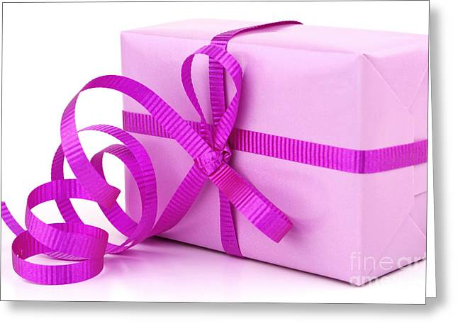 Anniversary Gift Greeting Cards - Pink gift Greeting Card by Blink Images