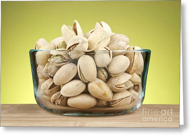 Shell Texture Greeting Cards - Pistachios in bowl Greeting Card by Blink Images