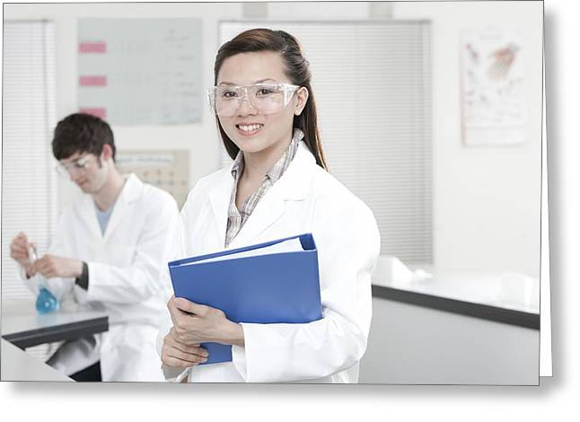 Chinese Ethnicity Greeting Cards - Pupils In A Science Lesson Greeting Card by