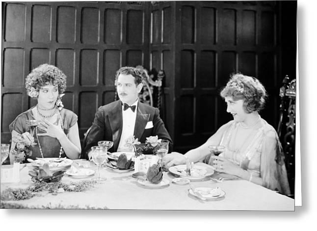 Tuxedo Greeting Cards - Silent Film: Restaurants Greeting Card by Granger
