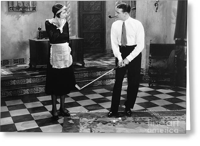 Housemaid Greeting Cards - Silent Film Still: Golf Greeting Card by Granger