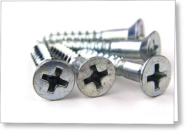 Constructed Greeting Cards - Silver screws Greeting Card by Blink Images