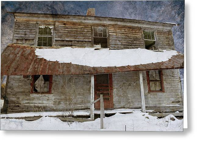 Snowy Abandoned Homestead Porch Greeting Card by John Stephens