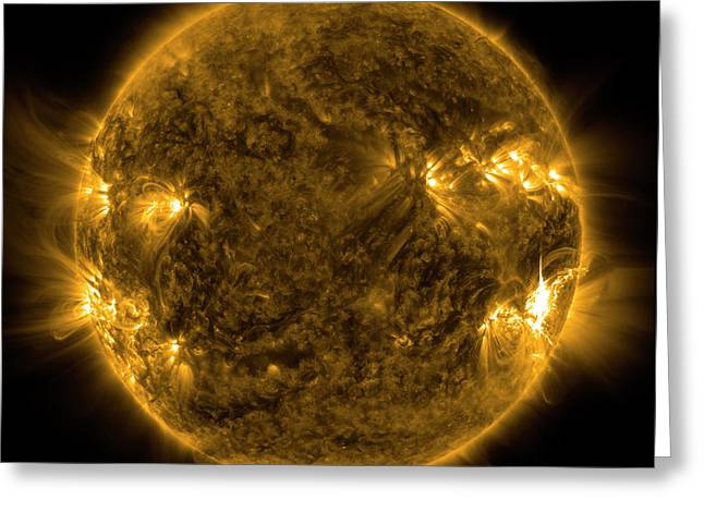 Ejection Greeting Cards - Solar Activity On The Sun Greeting Card by Stocktrek Images