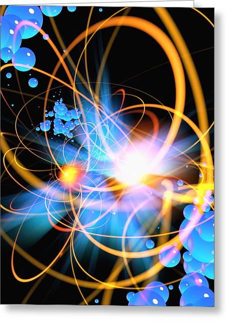 Circular Motion Greeting Cards - Subatomic Particles Abstract Greeting Card by Mehau Kulyk