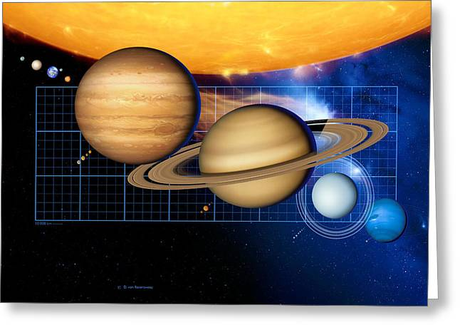 Large Scale Greeting Cards - Sun And Its Planets Greeting Card by Detlev Van Ravenswaay