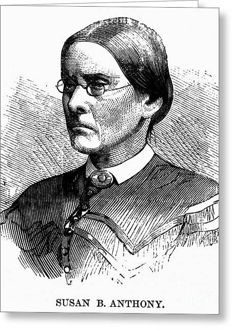 Women Suffrage Greeting Cards - Susan B. Anthony (1820-1906) Greeting Card by Granger