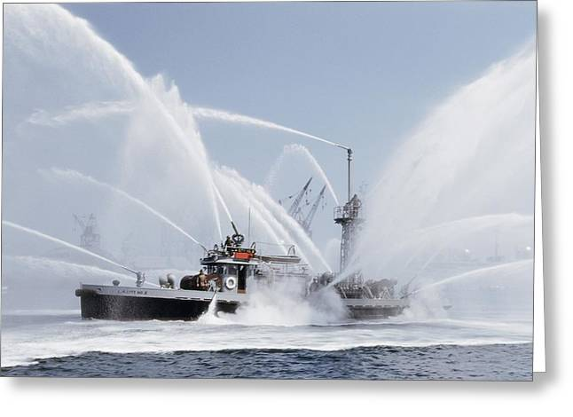 Fireboat Greeting Cards - Untitled Greeting Card by J. Baylor Roberts