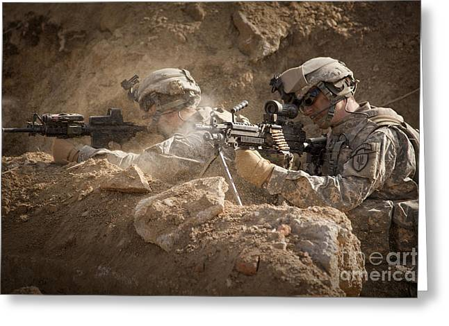 Shoulder-fired Greeting Cards - U.s. Army Rangers In Afghanistan Combat Greeting Card by Tom Weber