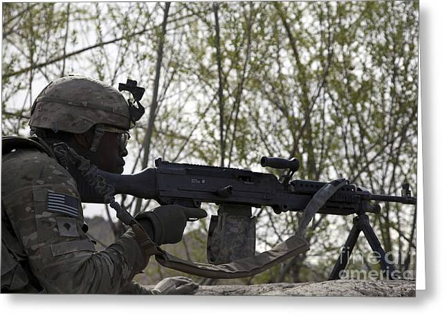 Logar Greeting Cards - U.s. Army Soldier Provides Security Greeting Card by Stocktrek Images