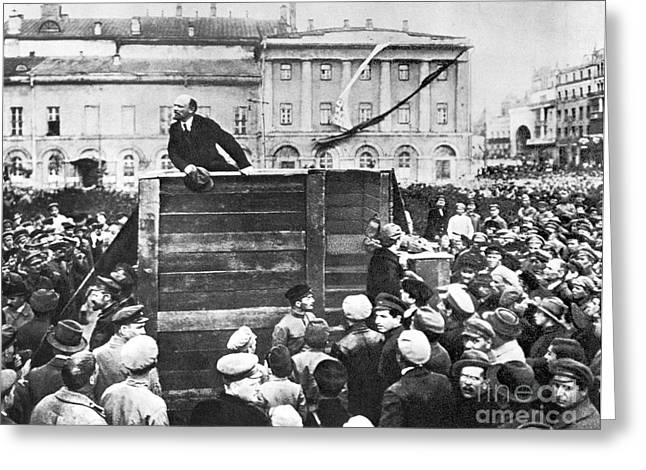 Altered Photograph Greeting Cards - Vladimir Lenin (1870-1924) Greeting Card by Granger