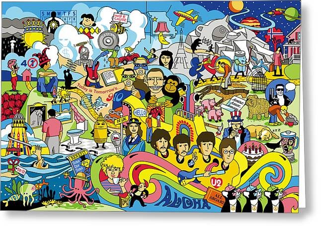 Beatles John Lennon Paul Mccartney George Harrison Ringo Starr Music Rock Icon Greeting Cards - 70 illustrated Beatles song titles Greeting Card by Ron Magnes