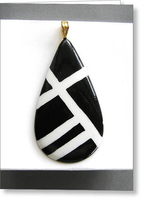 Modern Ceramics Greeting Cards - 712 Jewelry Pendant black  white Greeting Card by Wilma Manhardt