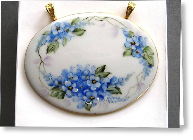 Forgotten Ceramics Greeting Cards - 713 Jewelry Pendant forget me nots Greeting Card by Wilma Manhardt
